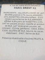 Paris brest x2 - Ingrediënten - fr