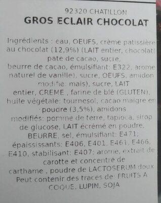Éclair au chocolat - Informations nutritionnelles - fr