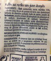 Muffins myrtille - Informations nutritionnelles - fr