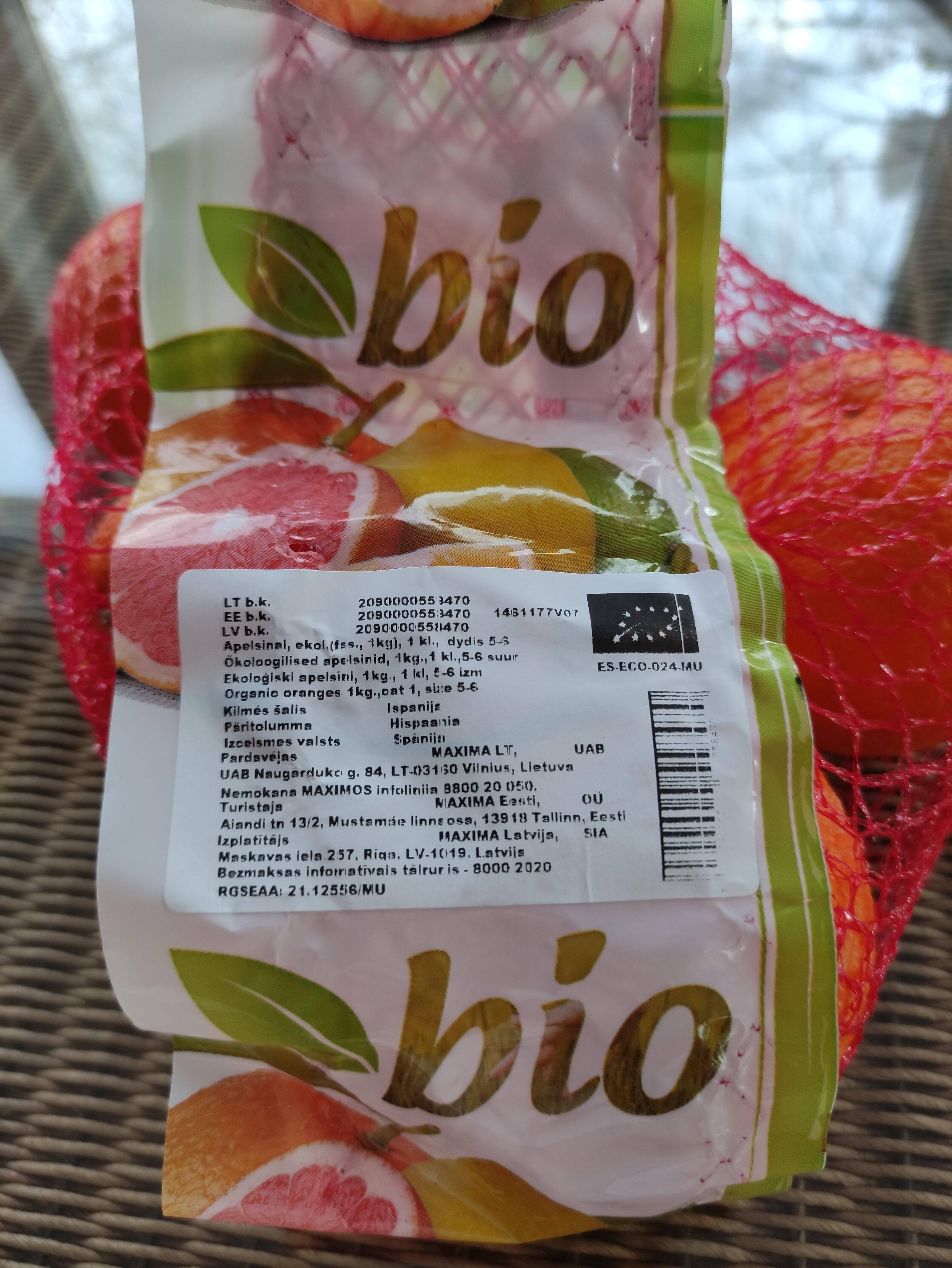 Organic Oranges, Cat 1, Size 5-6 - Produktas - en