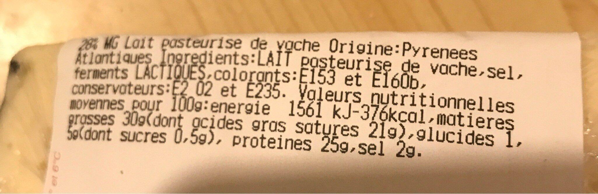 Tomme des Pyrénées IGP - Valori nutrizionali - fr