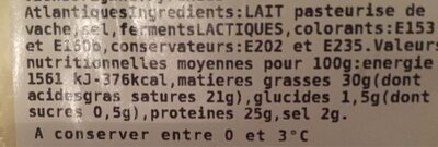 Tomme des pyrenees IGP - Valori nutrizionali - fr