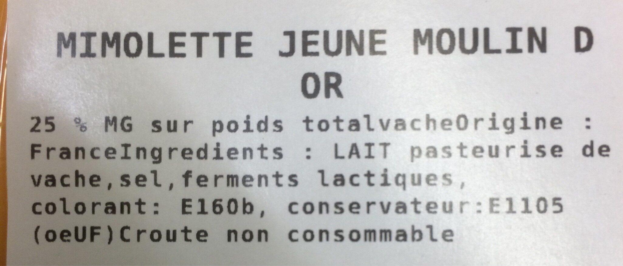 Mimolette jeune moulin d'or - Ingredienti - fr