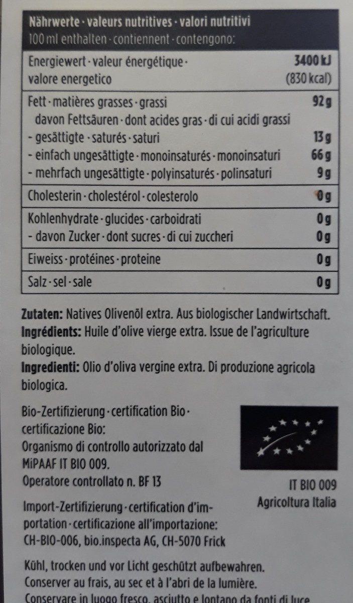 Huile olive bio natur plus - Ingrediënten
