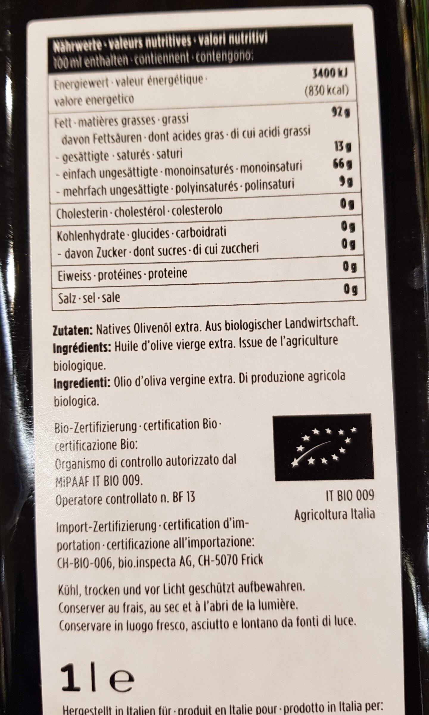 Huile olive bio natur plus - Voedingswaarden