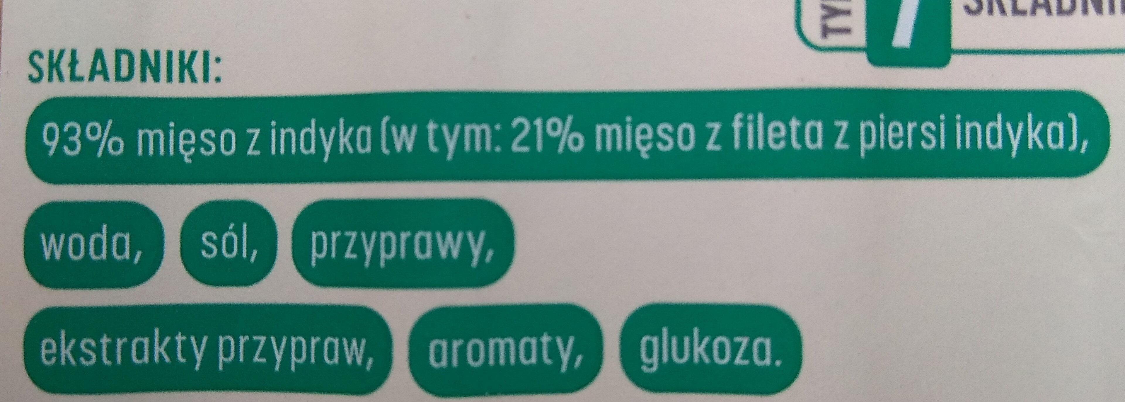 Parówki z filetem z indyka - Składniki - pl