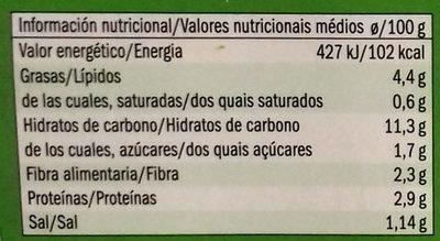 Quinoa Calabacín y Cebolla - Informació nutricional
