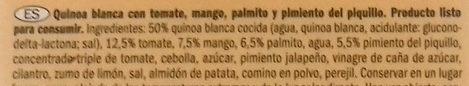 Quinoa con tomate, pimiento piquillo y mango - Ingredientes