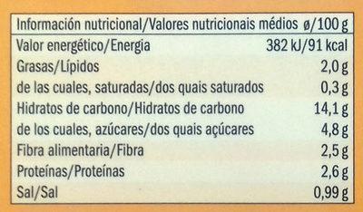 Quinoa con tomate, pimiento piquillo y mango - Información nutricional