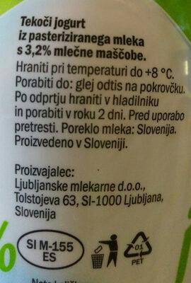 Tekoči jogurt 3.2% - Ingredients