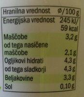 Tekoči jogurt 3.2% - Nutrition facts