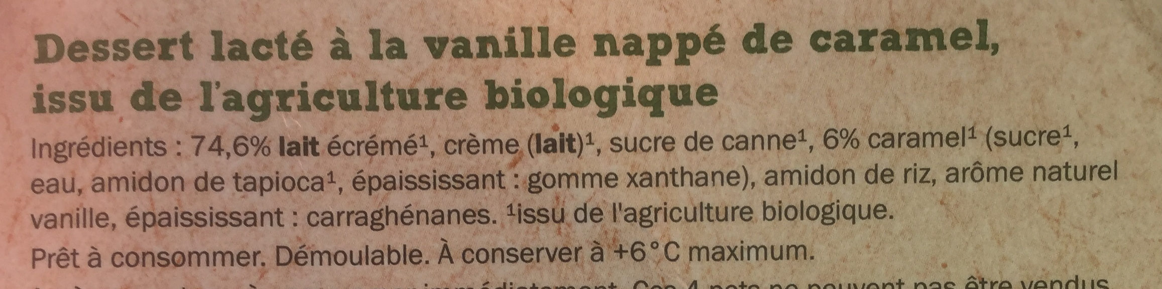 Flan Vanille Nappé Caramel - Ingrédients - fr