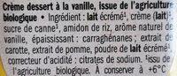 Crème Dessert Vanille Bio - Ingrédients - fr