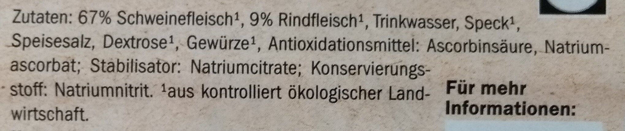 Saucisson de jambon bio - Ingredients
