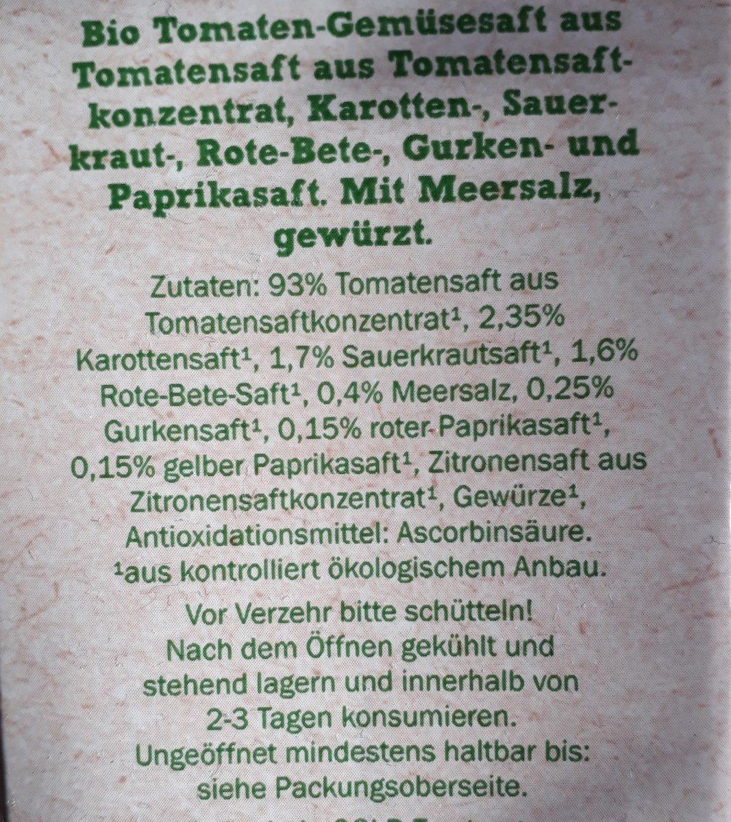 Bio Organic Tomaten-gemüse Saft - Ingrédients - fr