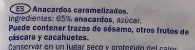 Caramelised cashews - Ingredientes