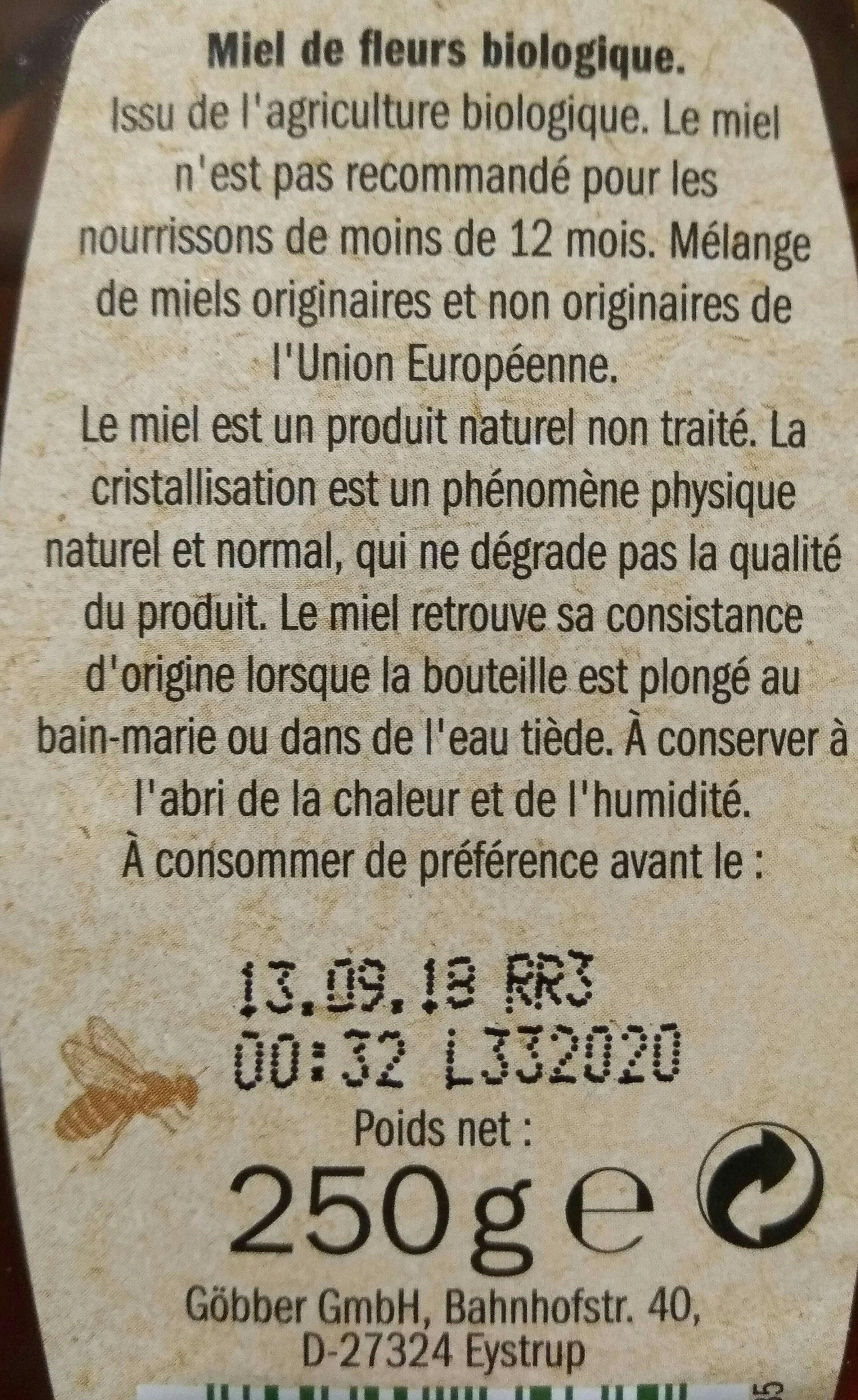 Miel de fleur bio - Ingredients - fr
