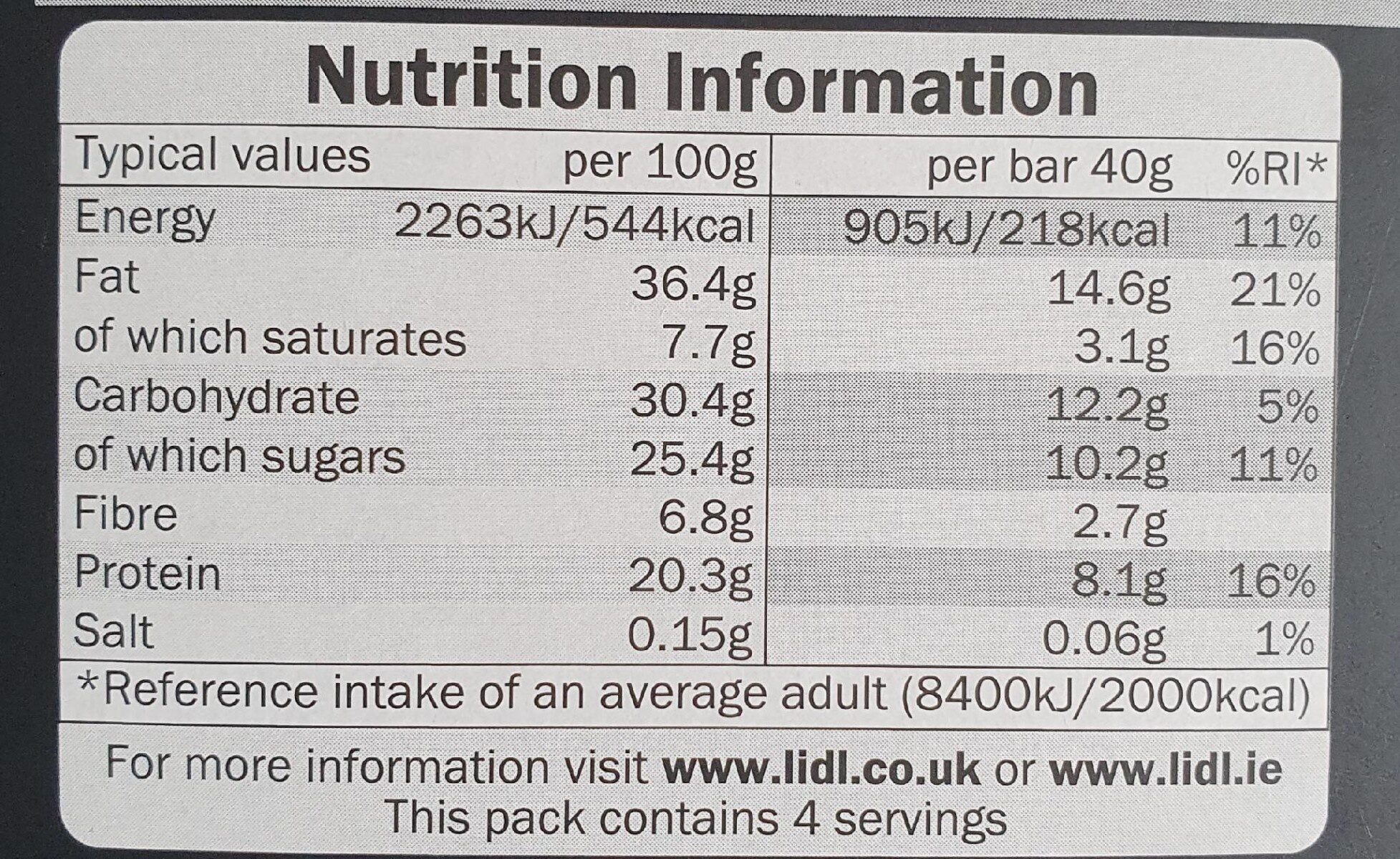 Dark chocolate and peanut butter bars - Nutrition facts - en