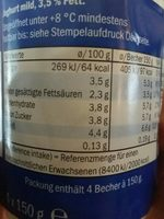 Milbona joghurt - Ingredients