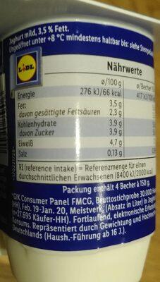 Joghurt - 营养成分 - de