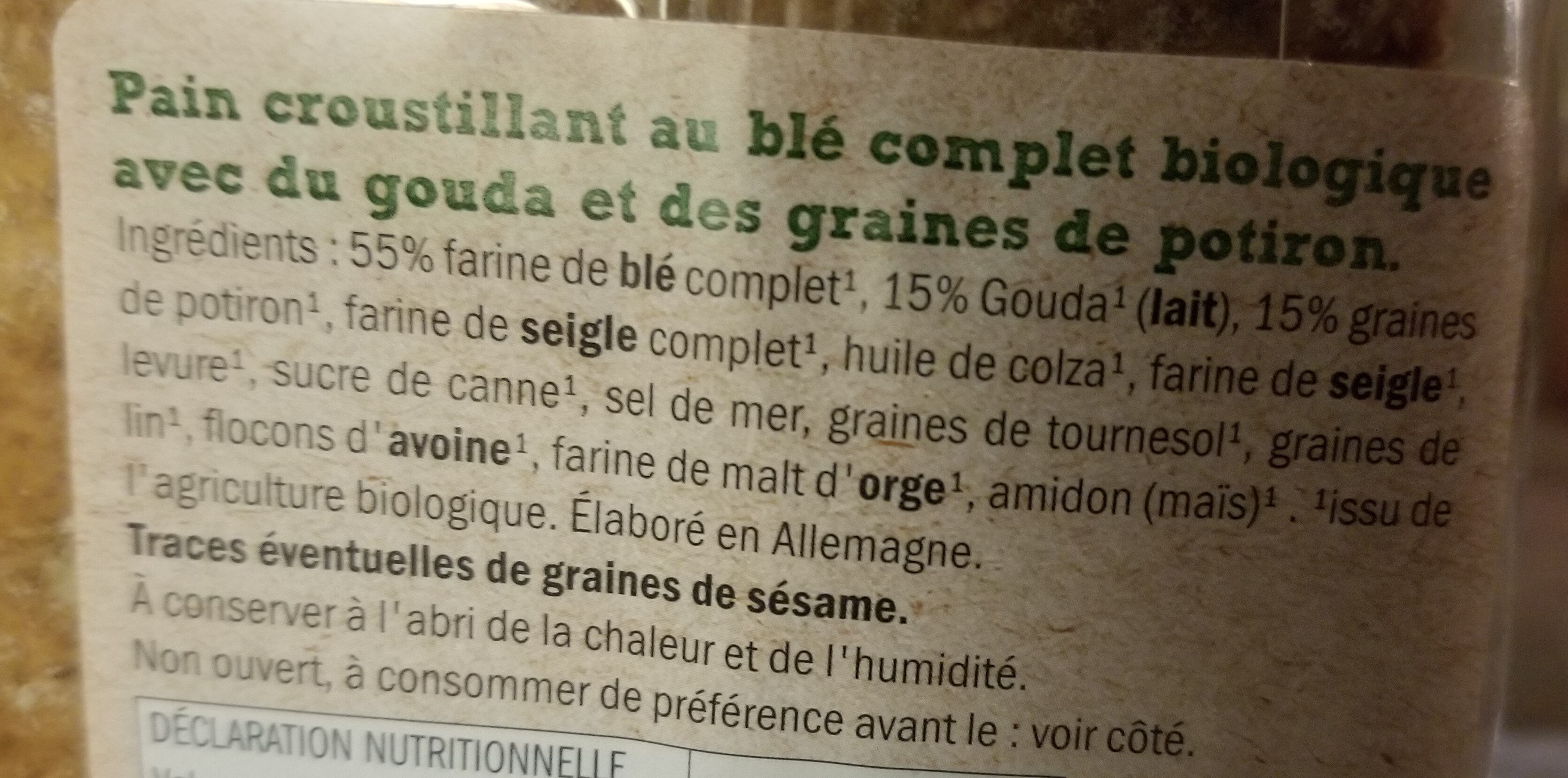 Crackers gouda & graines de courge - Ingredients - fr