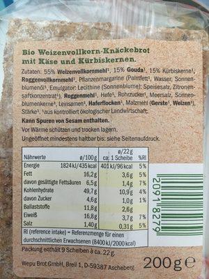 Bio Knäckebrot , Käse Kürbiskern - Ingredients