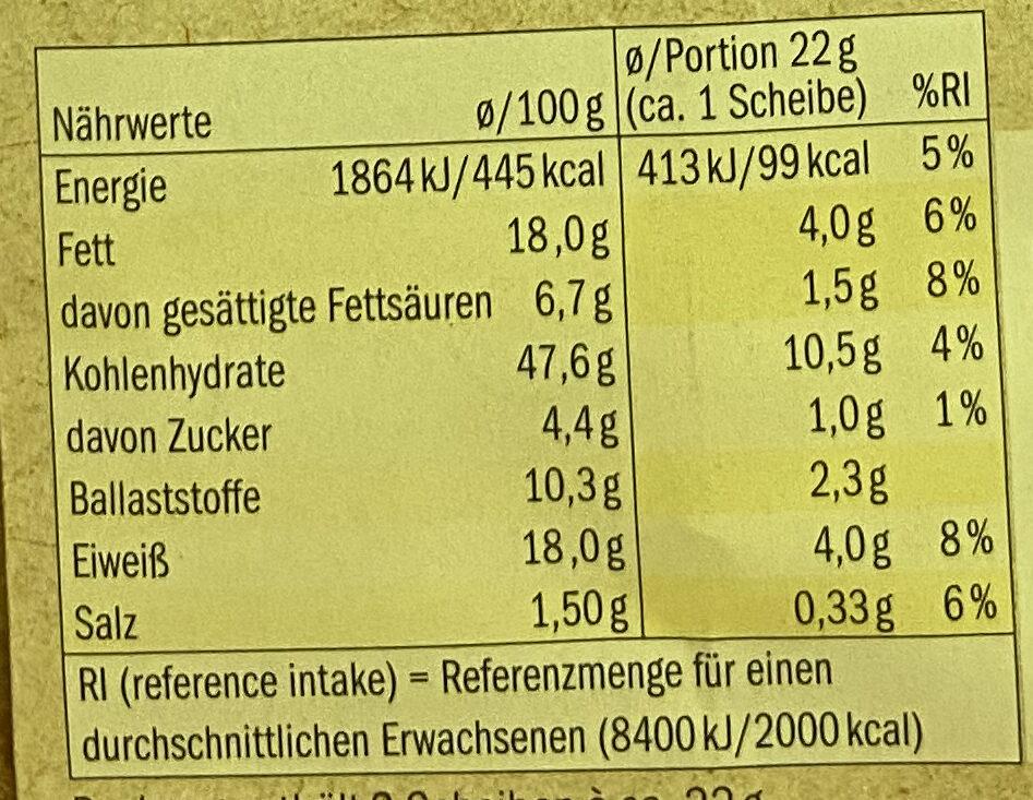 Bio Knäckebrot - Valori nutrizionali - de