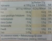 Bio Knäckebrot , Käse Kürbiskern - Informació nutricional