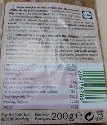 Bio tostas - Voedigswaarden