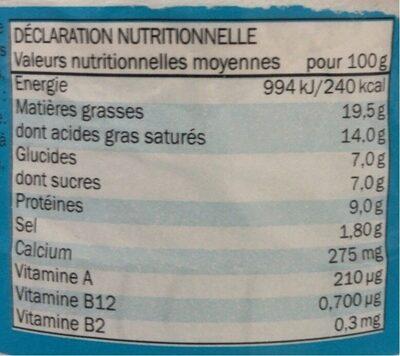 Portions de fromage - Informations nutritionnelles - fr