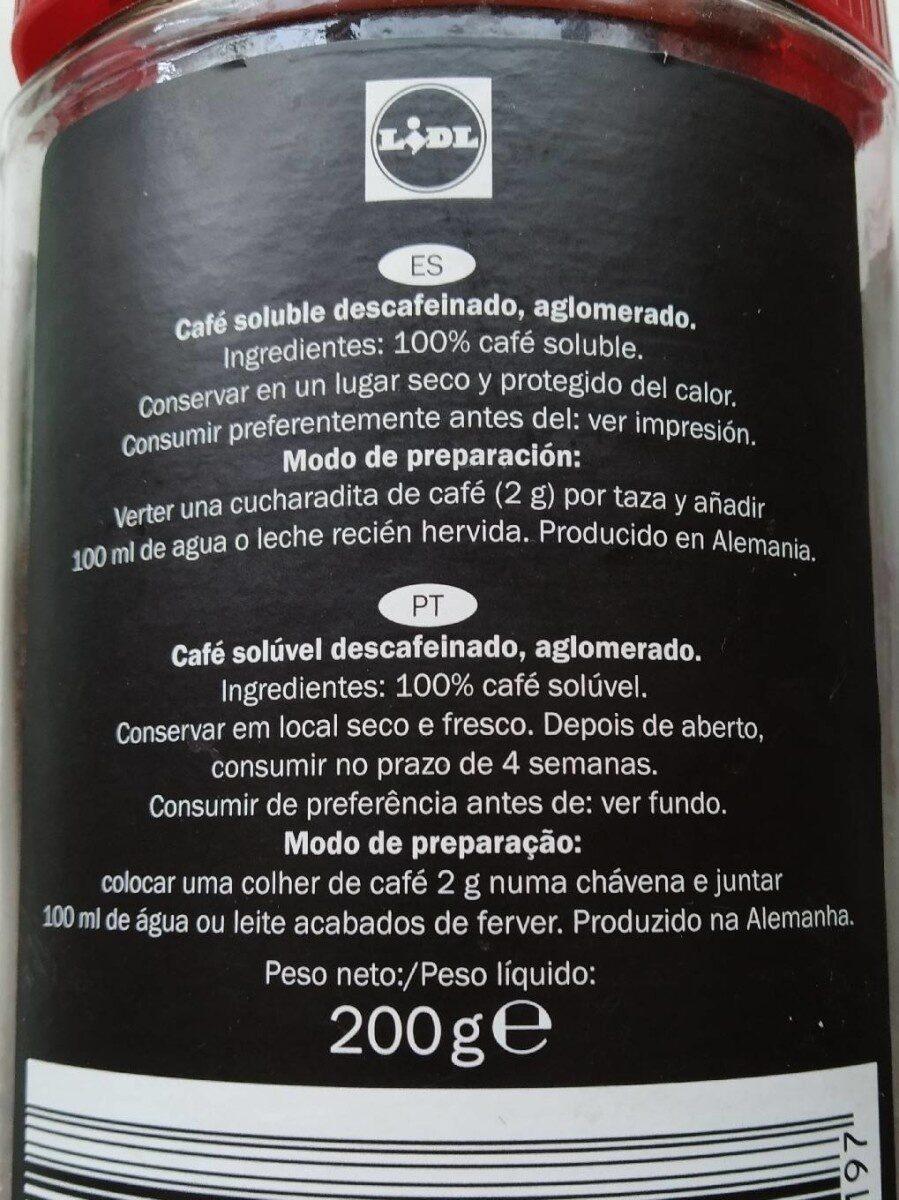 Café descafeinado soluble - Nutrition facts