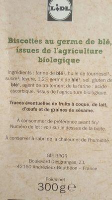 Bio biscottes - Ingredienti - fr