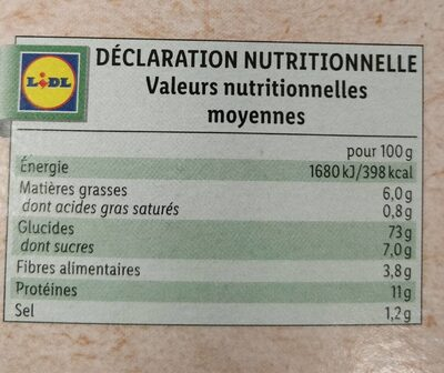Bio biscottes - Valori nutrizionali - fr