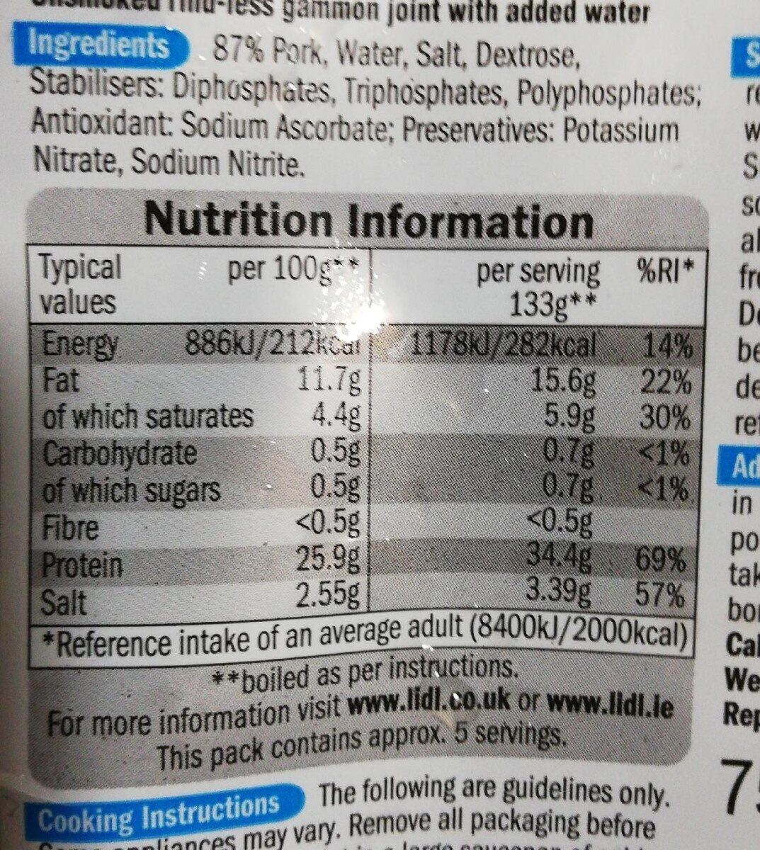 Gammon joint - Nutrition facts