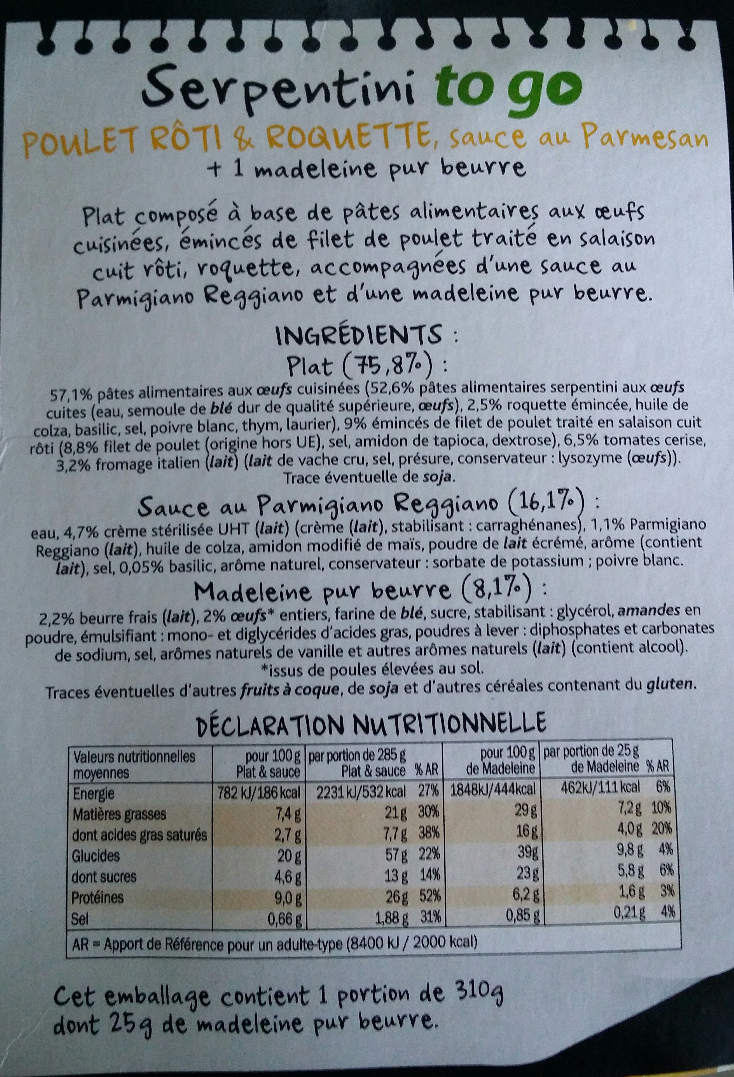 Fusilli poulet roti & fromage italien - Nutrition facts