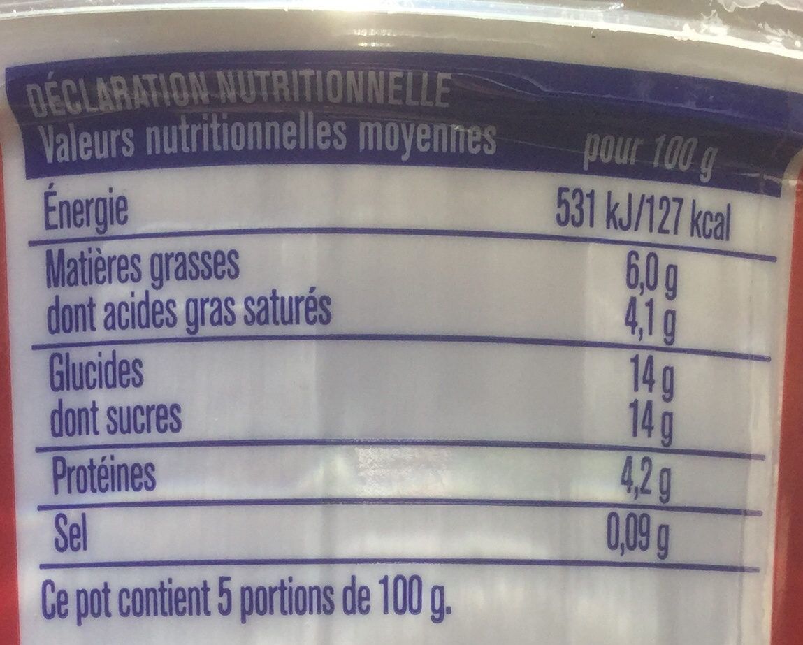 Fromage blanc framboise - Informations nutritionnelles - fr