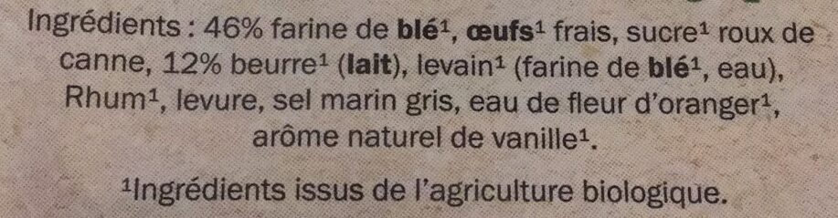 Brioche tranchée bio - Ingredients - fr