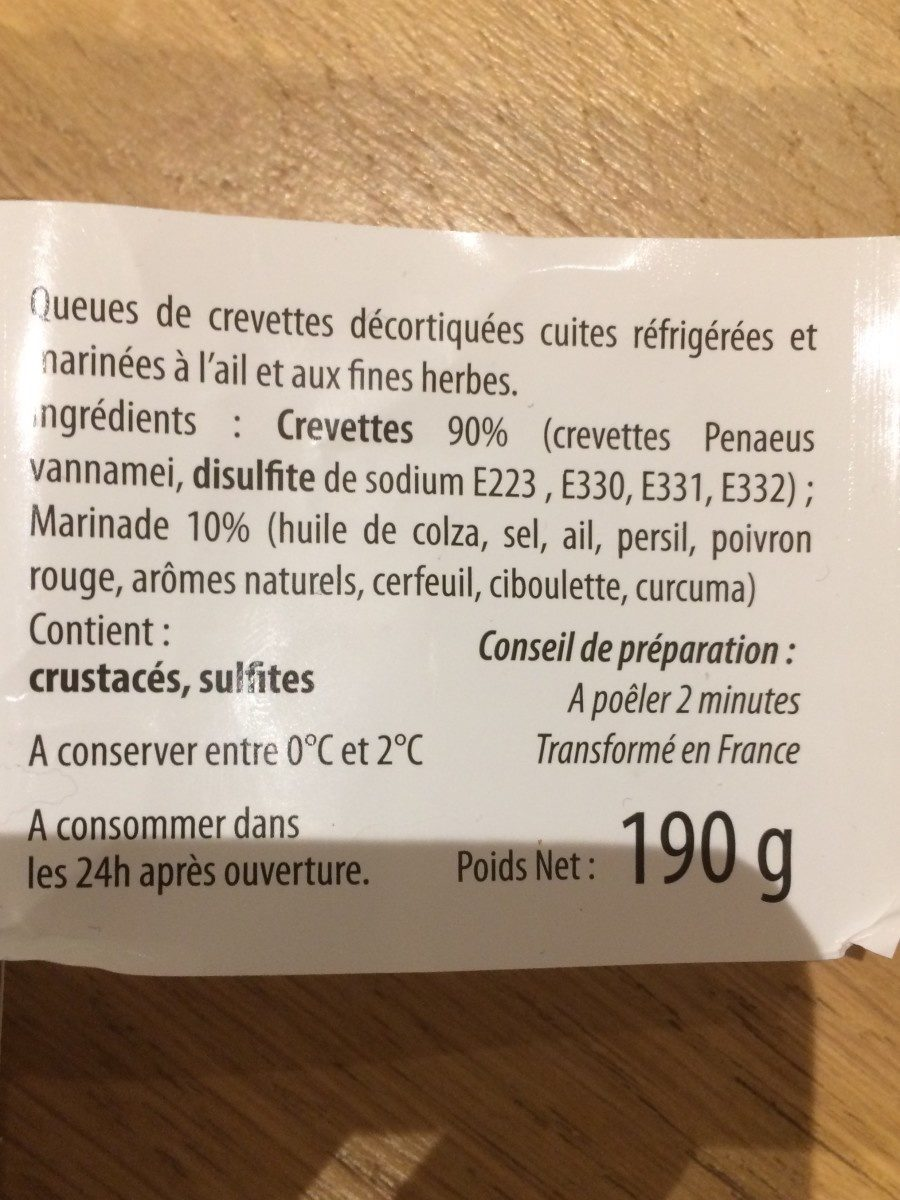Crevettes decortiquees a poiler ail et fines herbes - Ingredients - fr