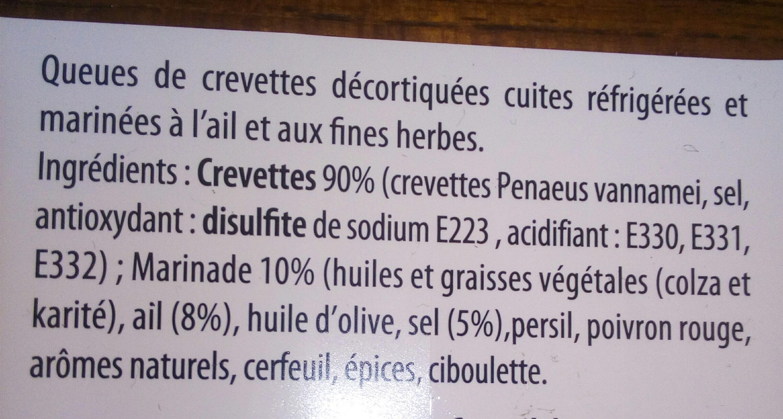 Crevettes decortiquees a poiler ail et fines herbes - Nutrition facts - fr