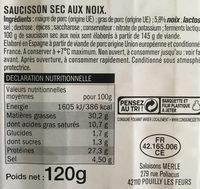 Saucisson Sec aux noix - Nährwertangaben