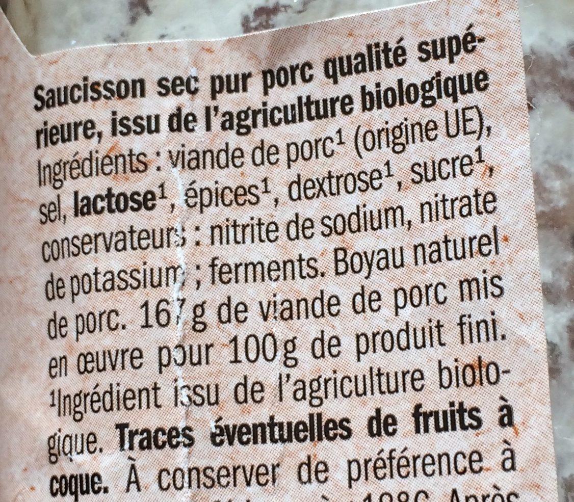 Saucisson sec pur porc - Ingrédients - fr