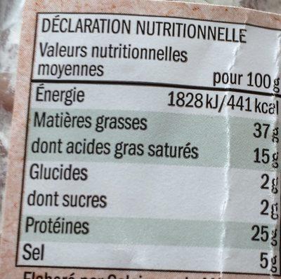 Saucisson sec pur porc - Informations nutritionnelles - fr