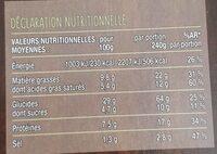 Pizza au chèvre cuite au feu de bois - Nutrition facts - fr