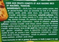 Cake fruits - Ingrédients - fr