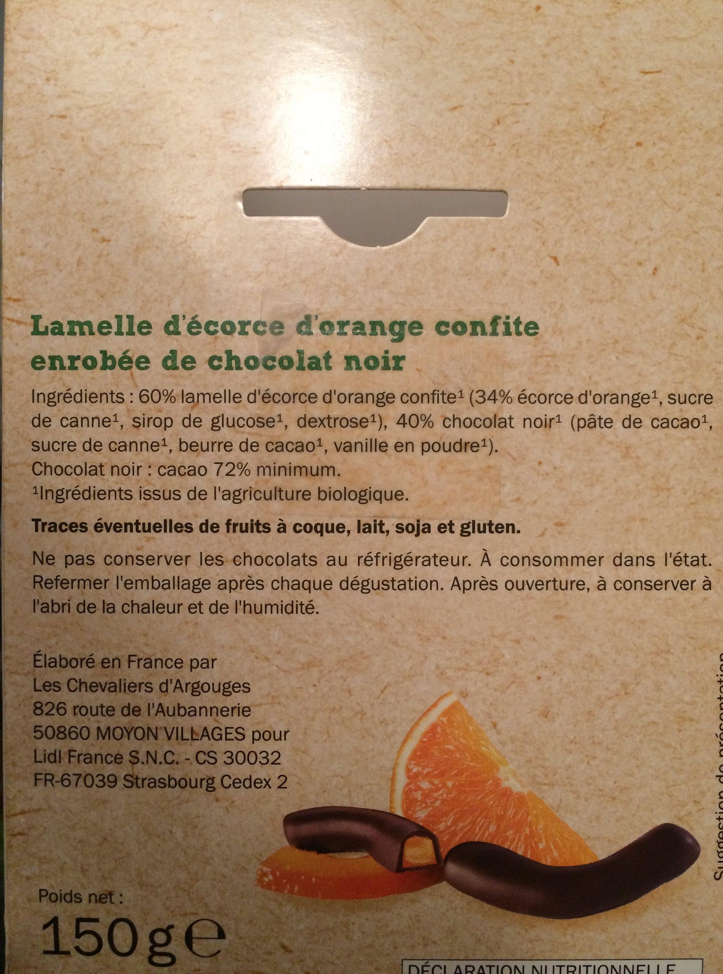 Orangettes chocolat noir - Ingredienti - fr