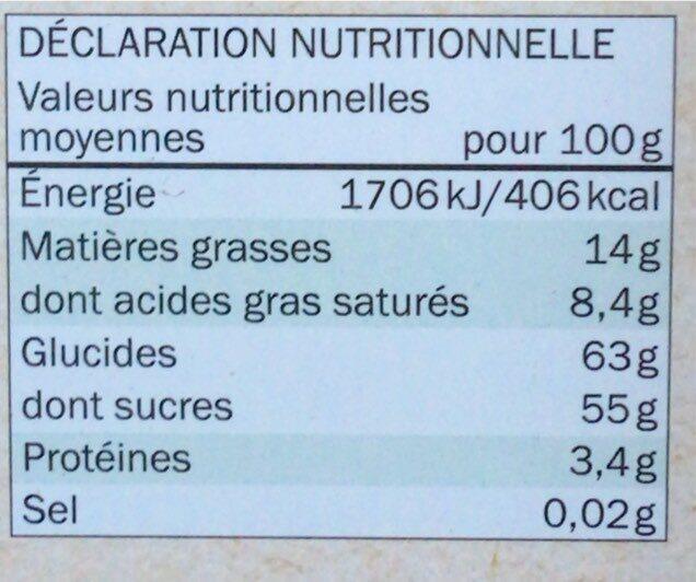 Orangettes chocolat noir - Valori nutrizionali - fr