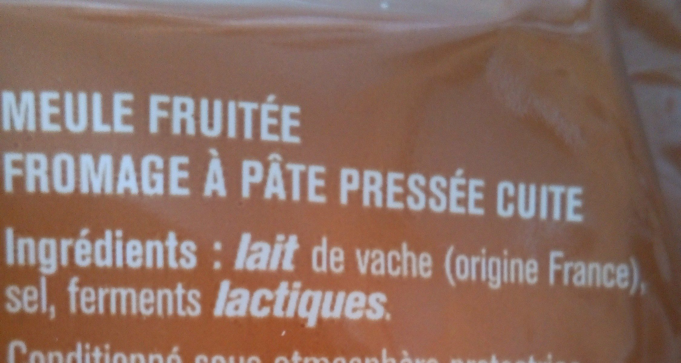 Meule fruitée - Ingredientes - fr