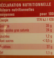 Meule fruitée - Información nutricional