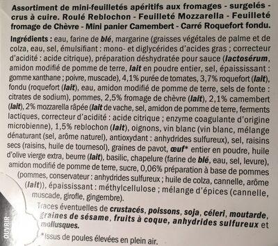 Coffret de 40 mini-feuilletée apéritifs - Ingredients
