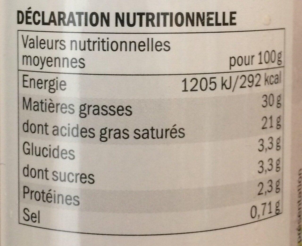 Crème fouettée à l'aneth - Nutrition facts - fr
